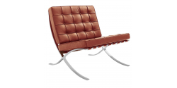 Ludwig Mies Ven Der Rohe  Barcelona Style Chair COGNAC Brown Leather - Replica
