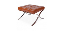 Barcelona Inspired Ottoman COGNAC Brown Leather