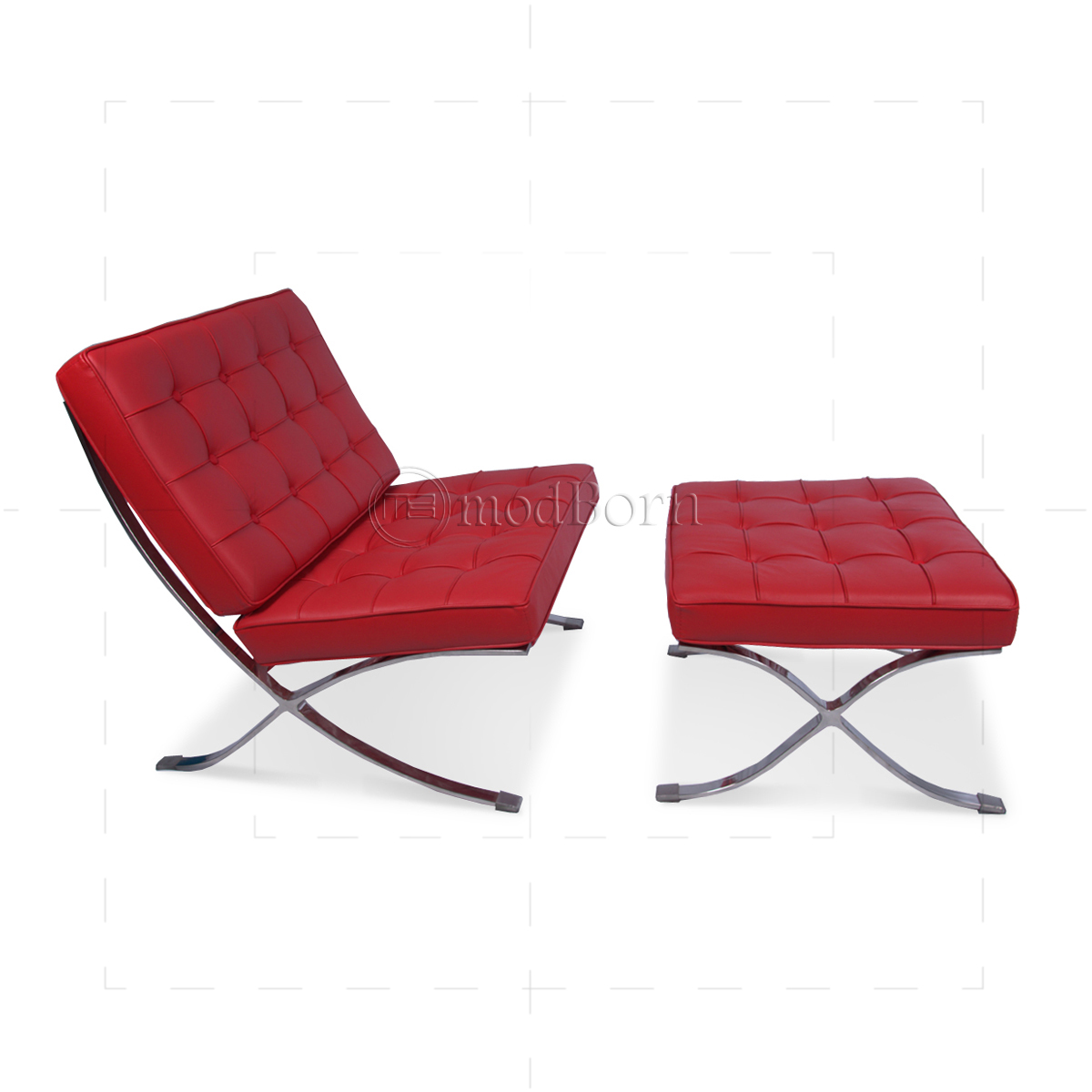 Ludwig mies ven der rohe barcelona style chair red leather for Barcelona chaise replica