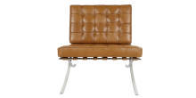 Ludwig Mies Ven Der Rohe  Barcelona Style Chair TAN Brown Leather - Replica