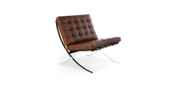 Ludwig Mies Ven Der Rohe  Barcelona Style Chair VINTAGE Brown Leather - Replica