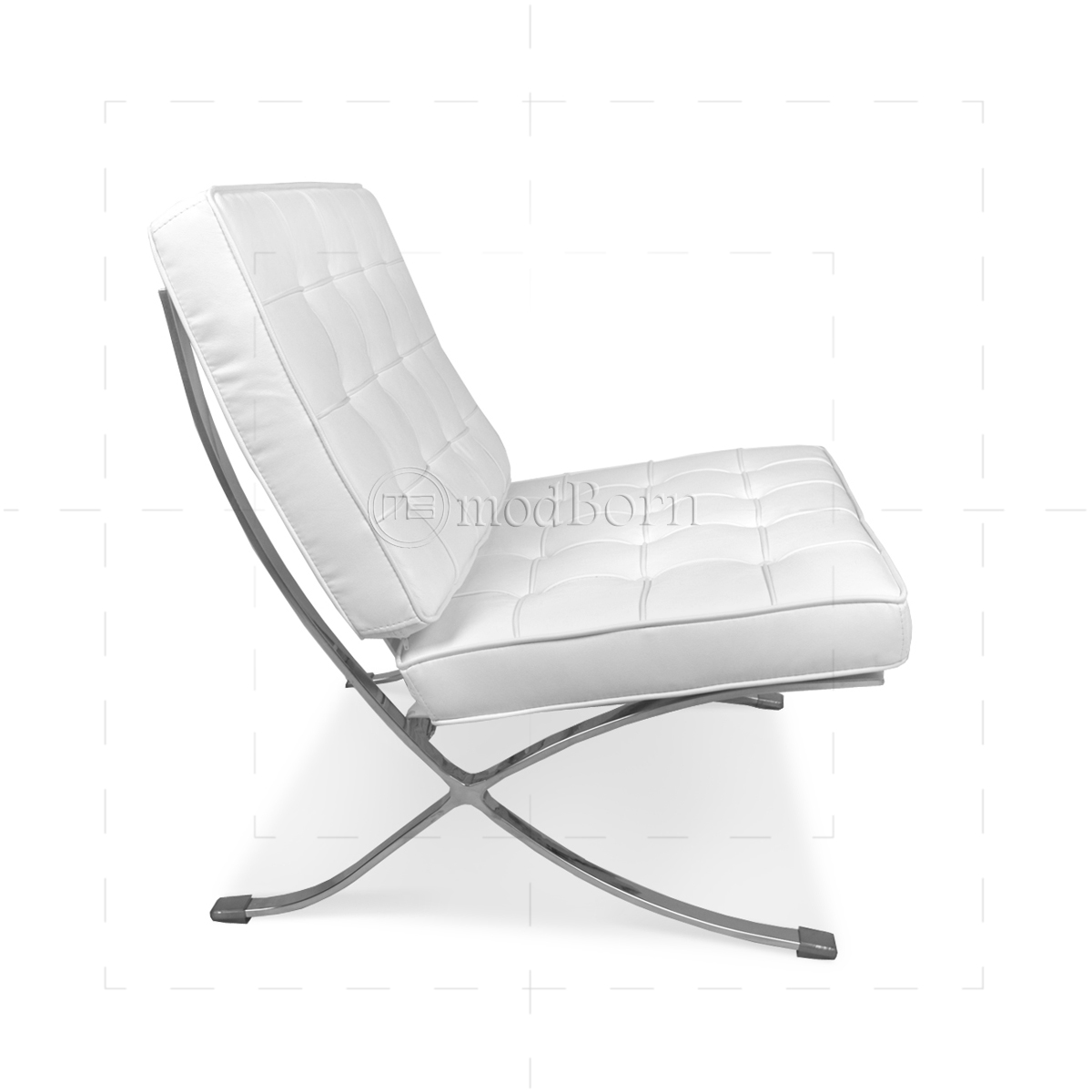 Ludwig Mies Van Der Rohe Barcelona Style Chair White Leather   Replica