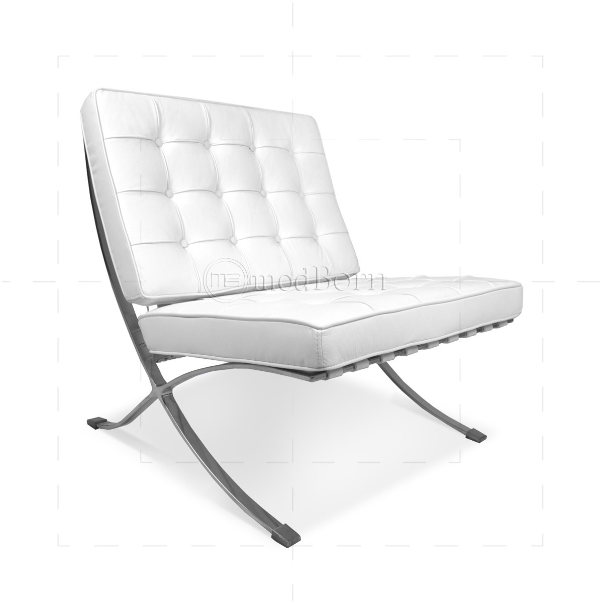 Ludwig Mies Van Der Rohe Barcelona Style Chair White Leather