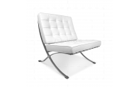 Ludwig Mies van der Rohe Barcelona Style Chair White Leather - Replica