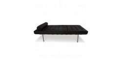 Ludwig Mies van der Rohe Barcelona Style Day Bed Black Leather - Replica