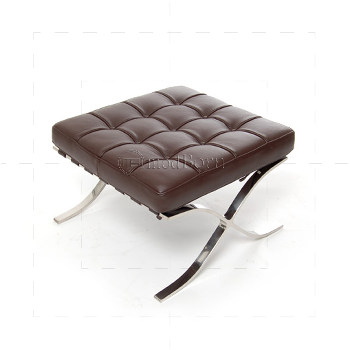 ludwig mies van der rohe barcelona style ottoman brown leather replica