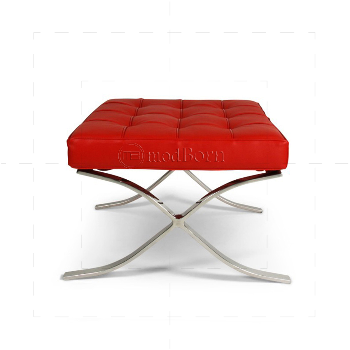 Ludwig Mies van der Rohe Barcelona Style Ottoman Red Leather
