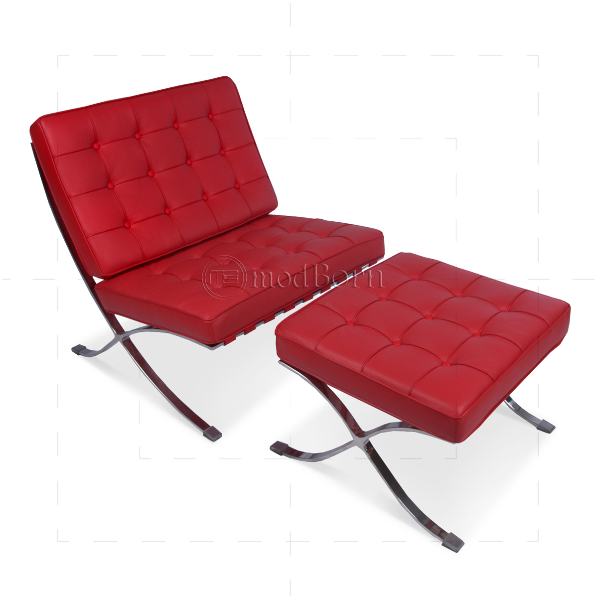 ludwig mies van der rohe barcelona style ottoman red leather. Black Bedroom Furniture Sets. Home Design Ideas