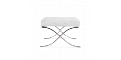 Barcelona Inspired Ottoman White Leather