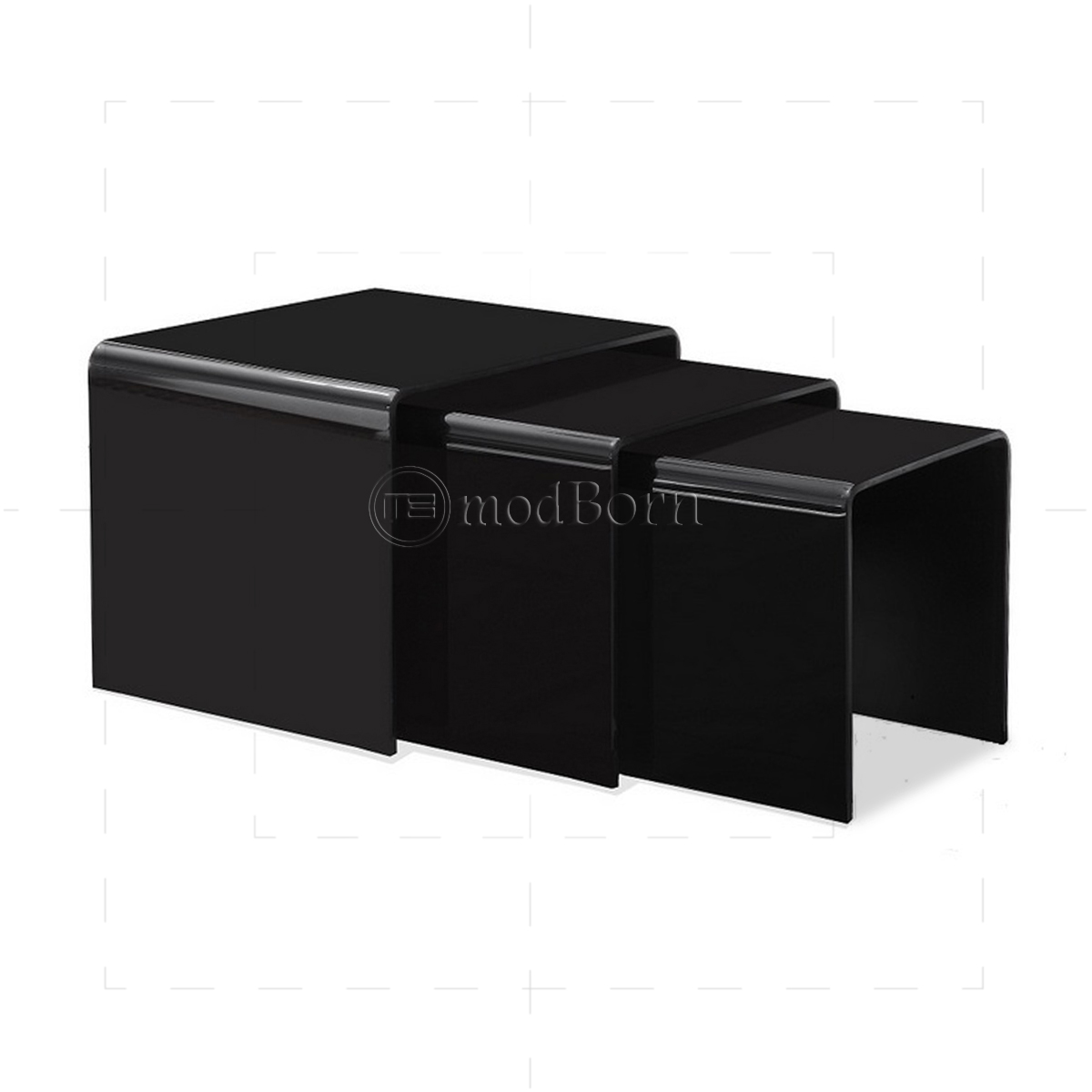 Toughened Glass Nest Of 3 Coffee Side Tables Black