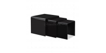 Safety Bent Glass Nest of 3 Coffee Side Tables BLACK