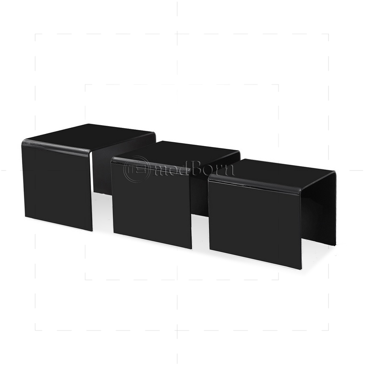 Safety bent glass nest of 3 coffee side tables black watchthetrailerfo