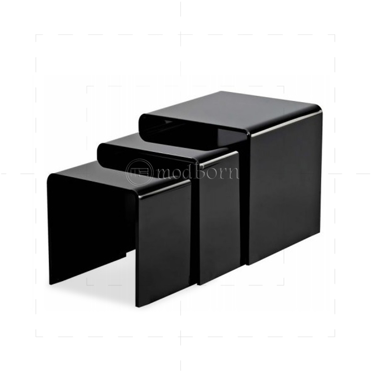 Black Glass Tables glass nest of 3 coffee side tables black