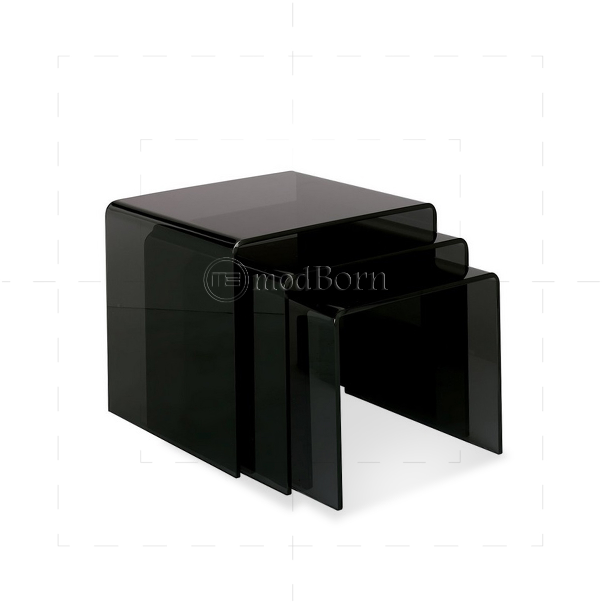 Glass nest of 3 coffee side tables black toughened glass nest of 3 coffee side tables black geotapseo Gallery