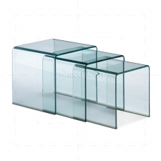 Safety Glass Nest of 3 Coffee Side Tables Clear
