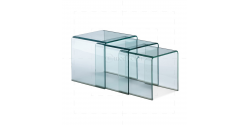 Bent Glass Nest of 3 Coffee Side Tables