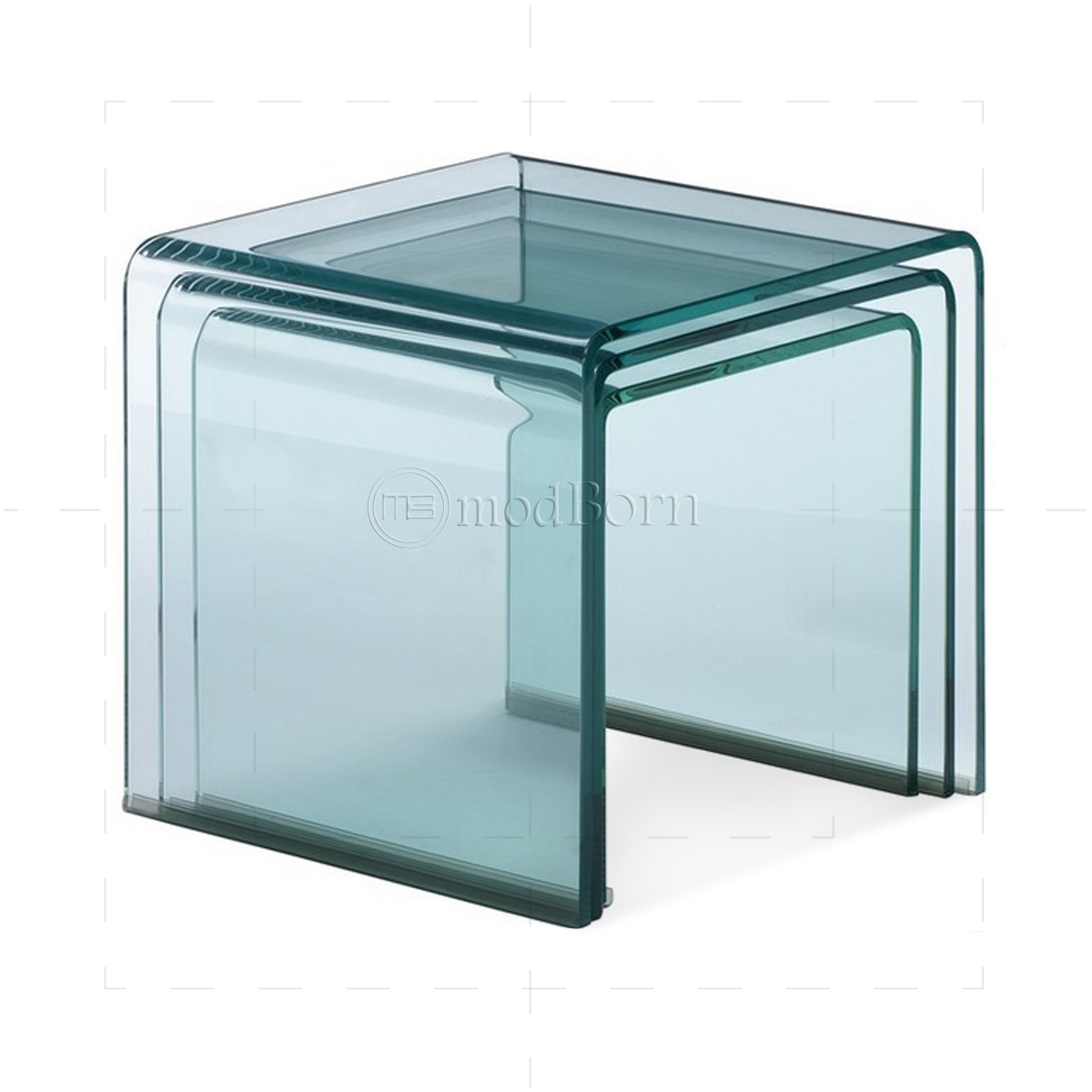 Toughened glass nest of coffee side tables clear