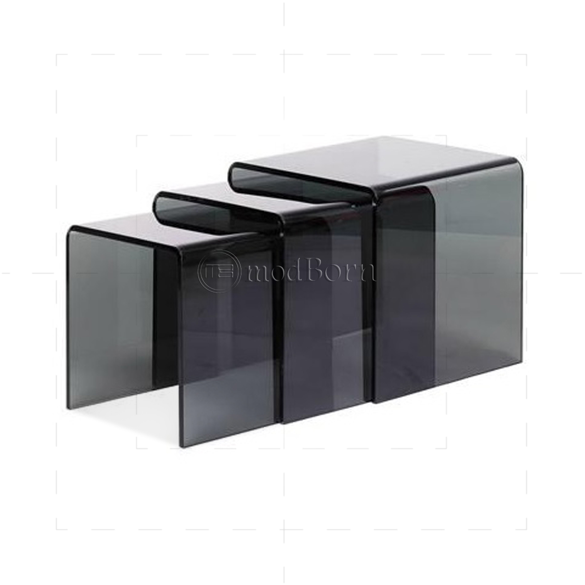 Toughened Glass Nest Of 3 Coffee Side Tables Grey