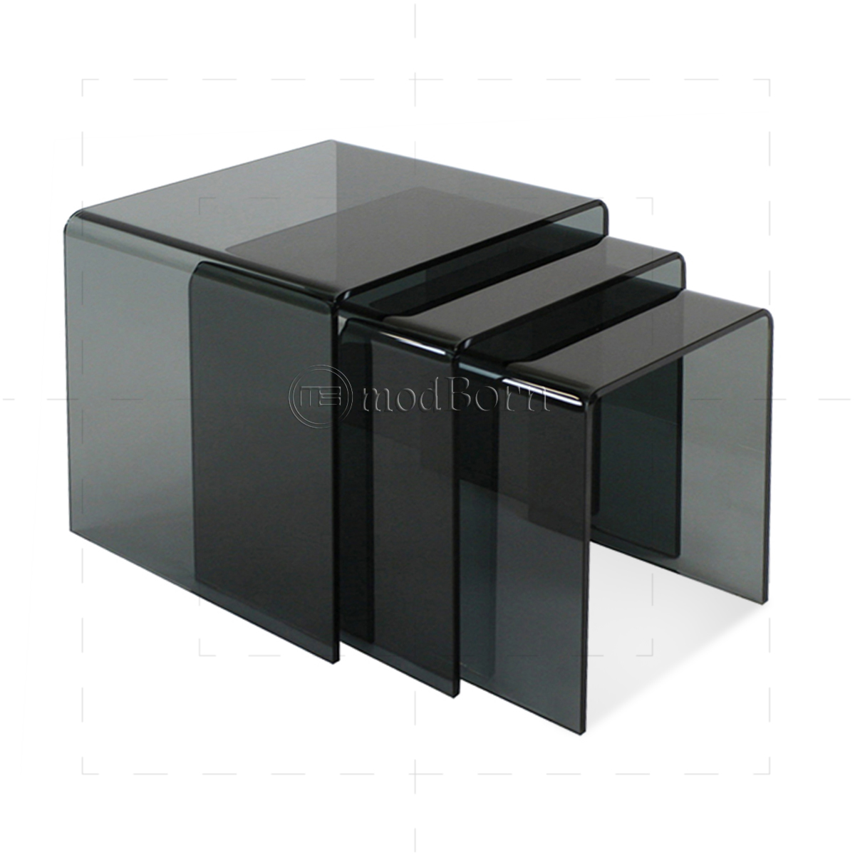Safety glass nest of 3 coffee side tables grey watchthetrailerfo