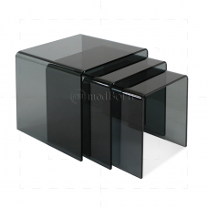 Safety Glass Nest of 3 Coffee Side Tables Grey