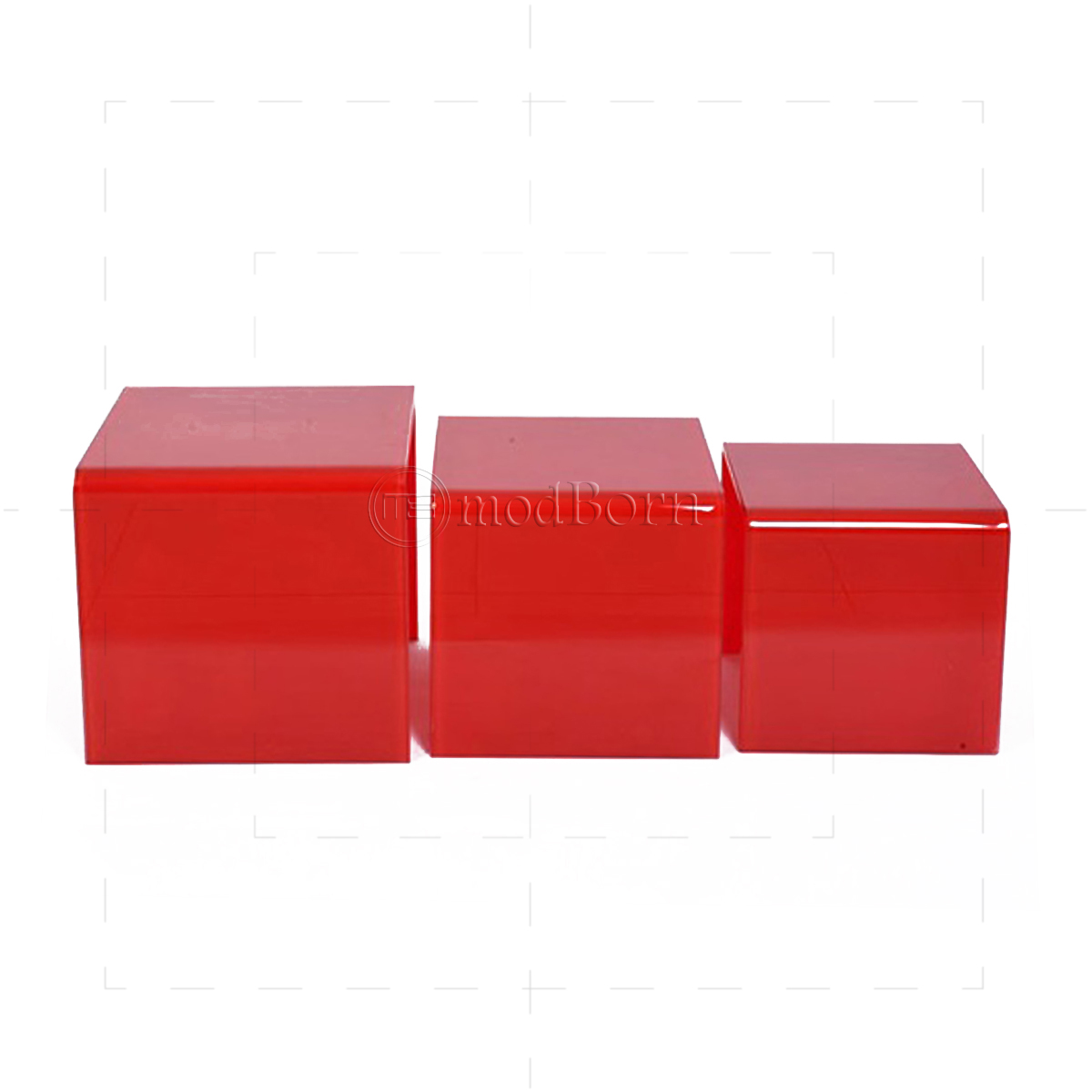 Toughened Glass Nest Of 3 Coffee Side Tables RED