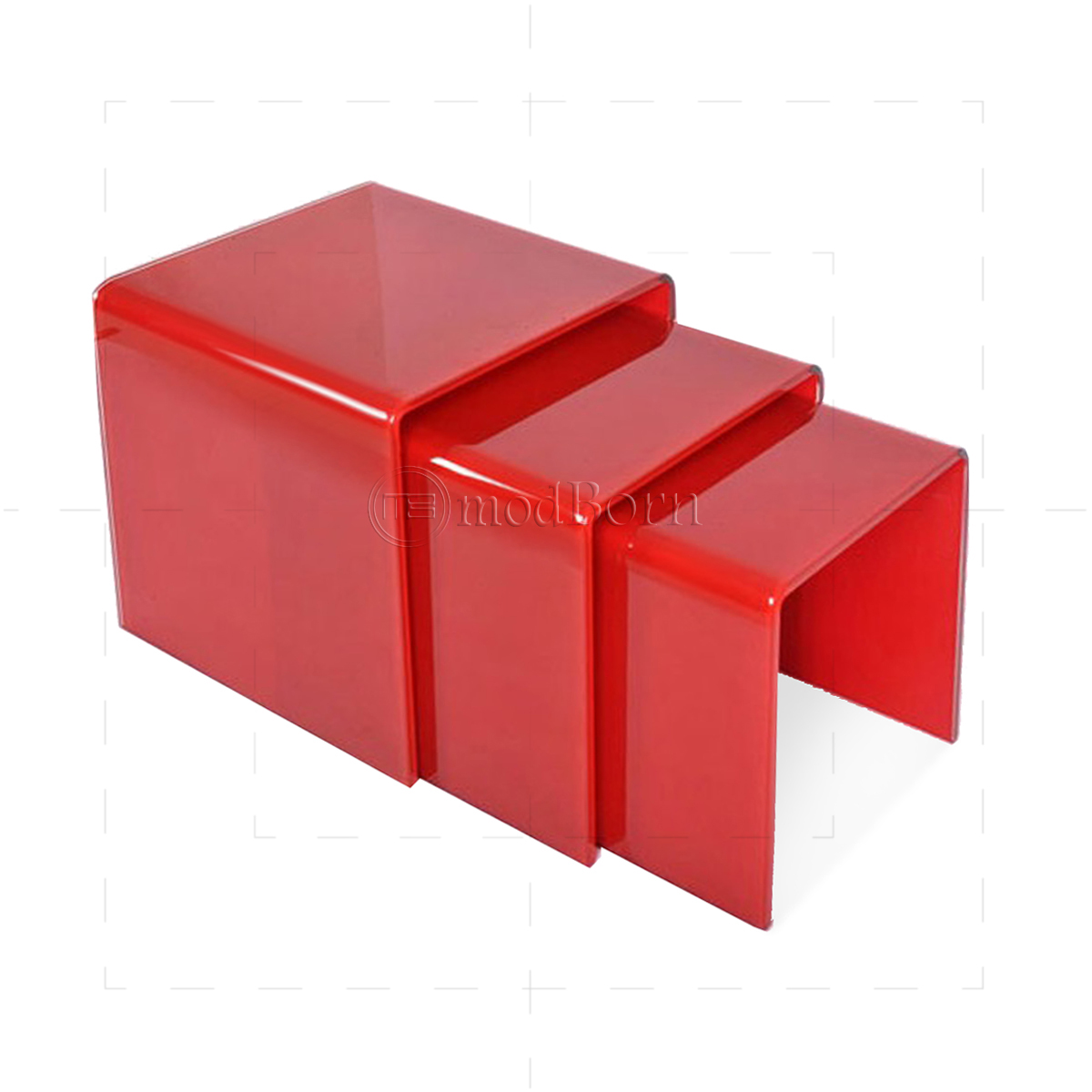 Coffee Tables Reception Coffee Tables For The Office The  Toughened Glass Nest of 3 Coffee Side Tables RED