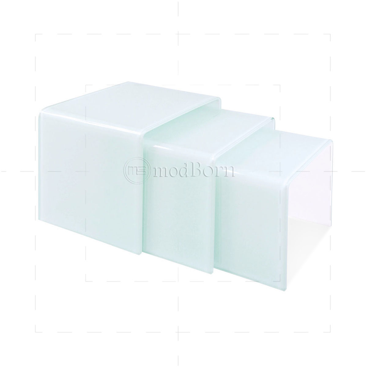 Safety glass nest of 3 coffee side tables white watchthetrailerfo