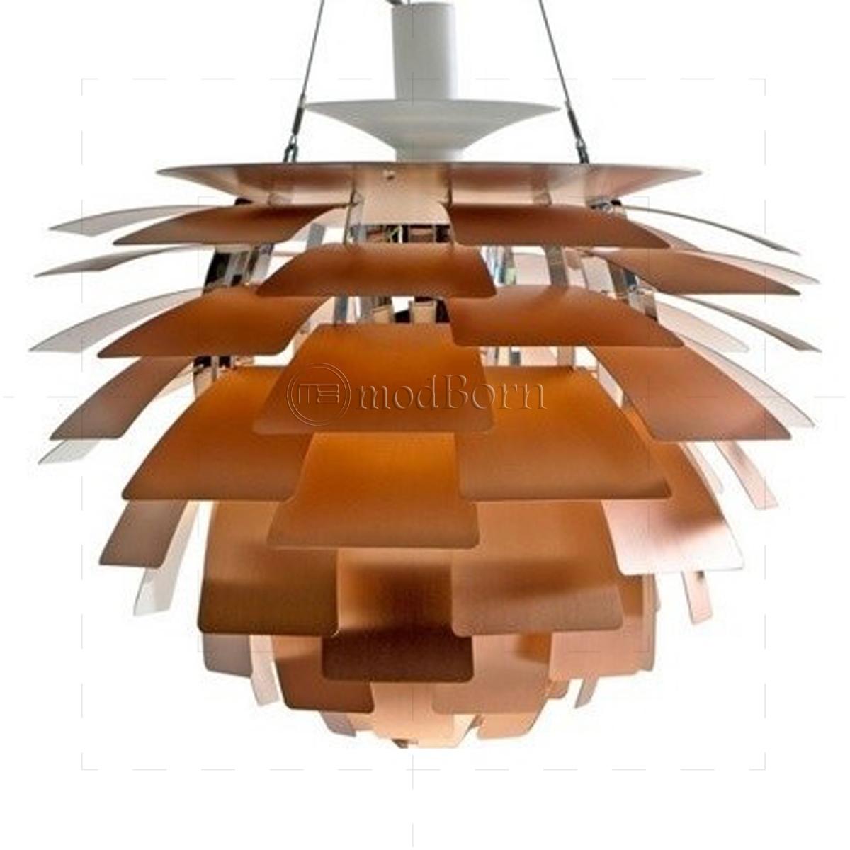 Poul henningsen style artichoke lamp copper 48cm replica for Design replica