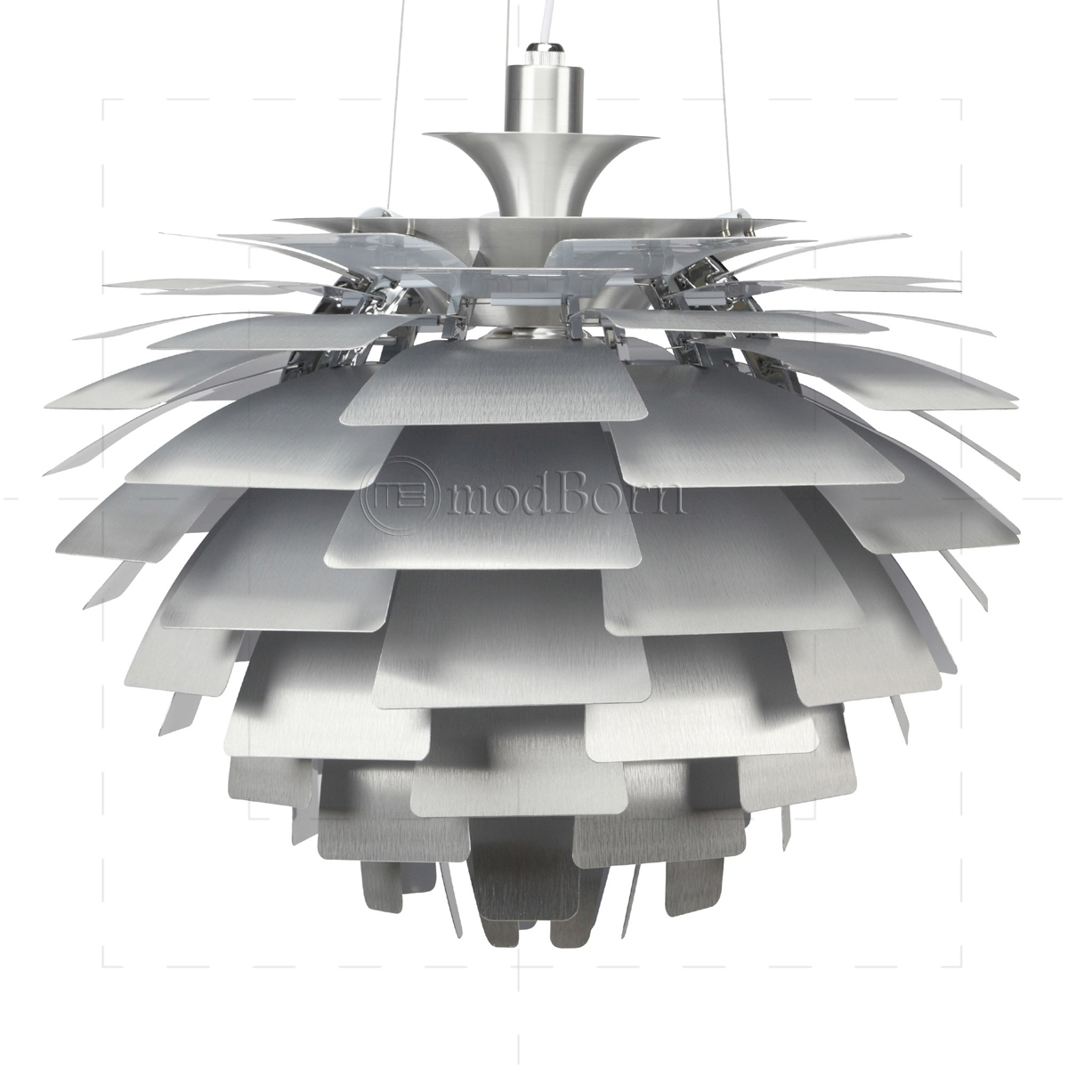 poul henningsen style artichoke lamp silver 48cm replica. Black Bedroom Furniture Sets. Home Design Ideas