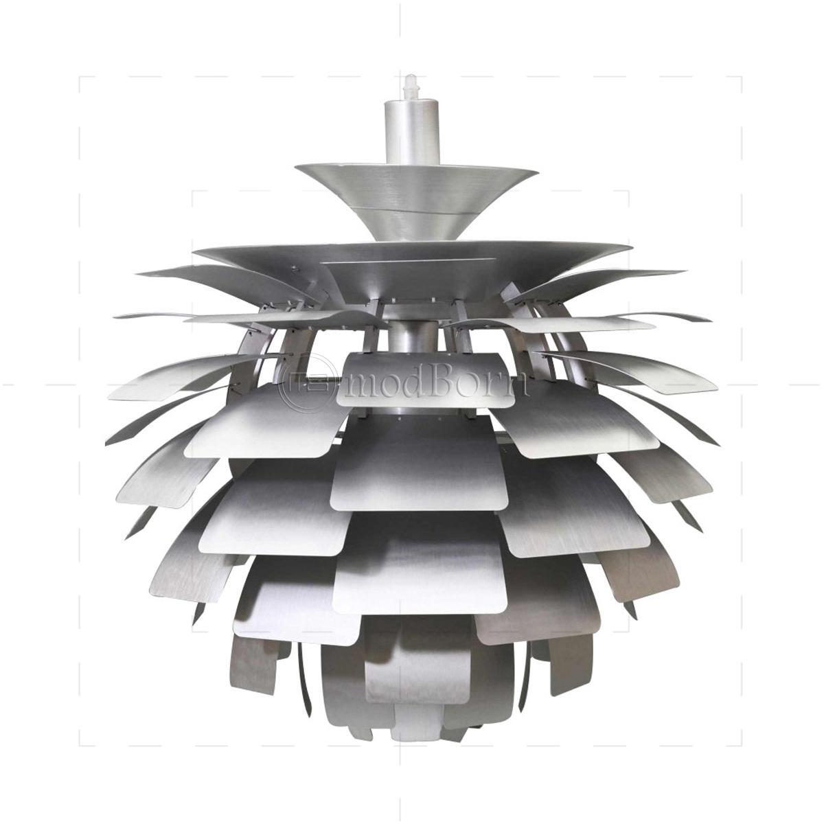 Poul Henningsen Style Artichoke Lamp Silver   48cm   Replica